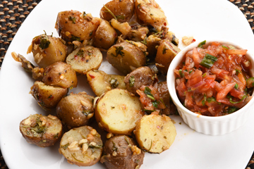 Baby potatoes chilli lime coriander and salsa