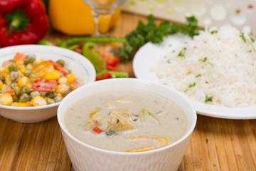 Veggies and mushroom stroganoff with herbed rice and mayonnaise veggies