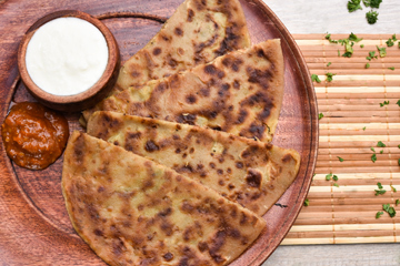 Aloo parathas %282%29 with butter and curd new