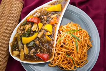 Schezwan hakka noodles with mixed exotic vegetables