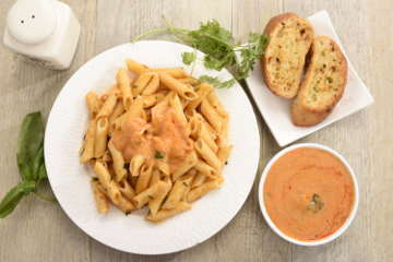 Penne in blush sauce with garlic bread