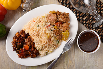 Black pepper honey chicken with ginger capsicum rice and kung pao chicken %282%29