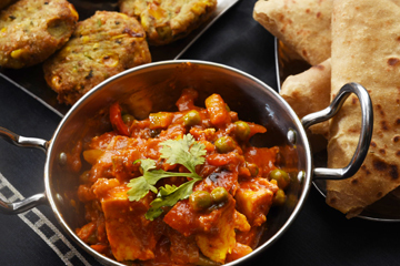 Vegetable paneer jalfrezi with parathas %283%29  corn cutlets %284%29 and mint chutney